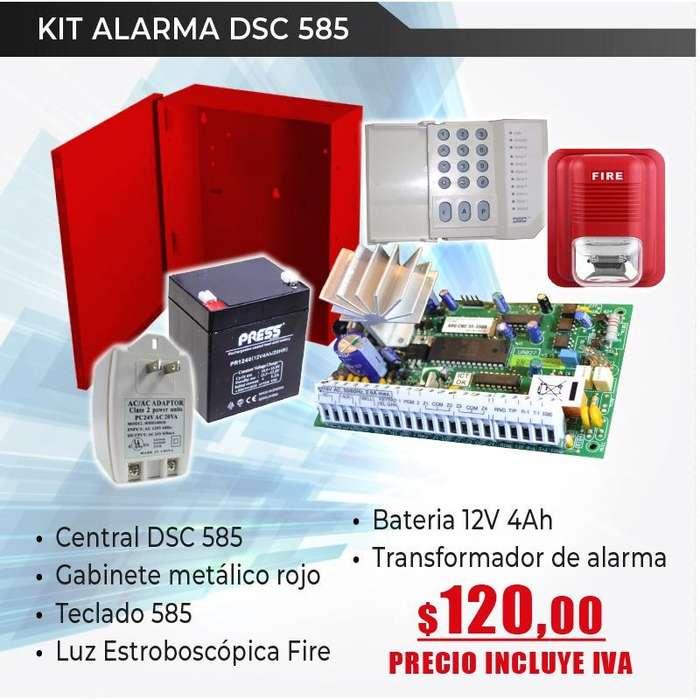 sistema de alarma convencional/central de alarma dsc 585/luz estroboscopica fire/seguridad perimetral quito-Guayaquil