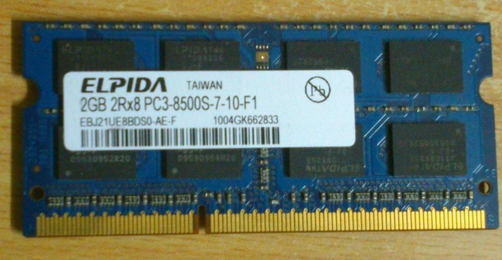 Ram 2 Gb Ddr3 para Portátil Pc38500s710f1 2rx8