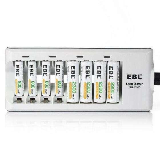 Cargador Ebl 8 <strong>pila</strong>s Aa Aaa Baterias Con Indicador Carga Led En caja Nuevo