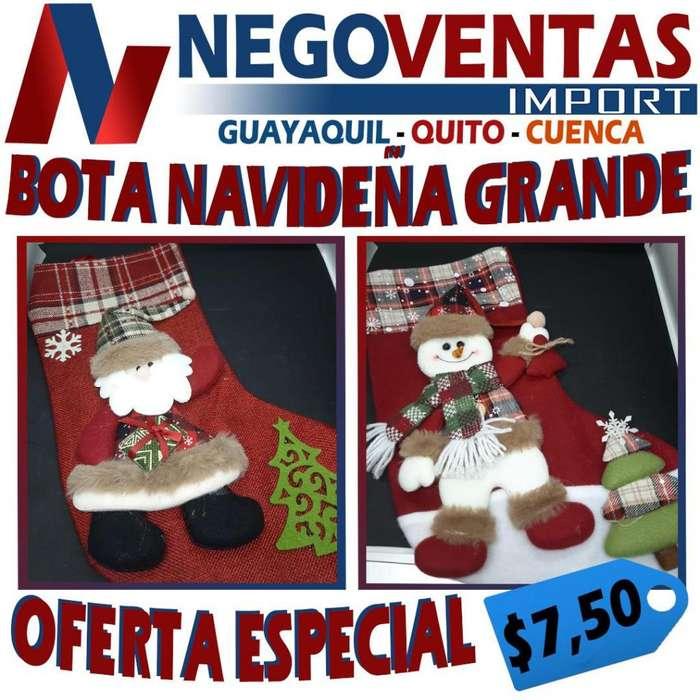 BOTA DE NAVIDAD GRANDE DECORATIVA PARA TU HOGAR 7,50