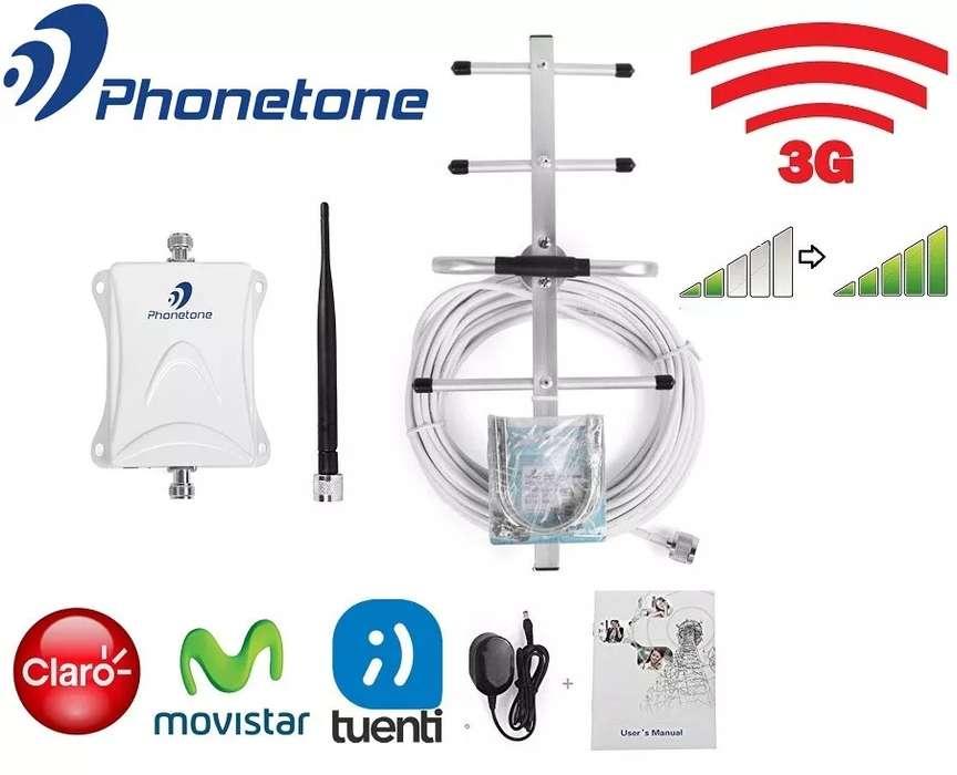 KIT AMPLIFICADOR SEÑAL CELULAR PHONETONE C80AYB BANDA 850MHz 3G 80dB ANT. OUT. 8dBi CABLE 10M MAS ANT. IND. OMNI 3dBi