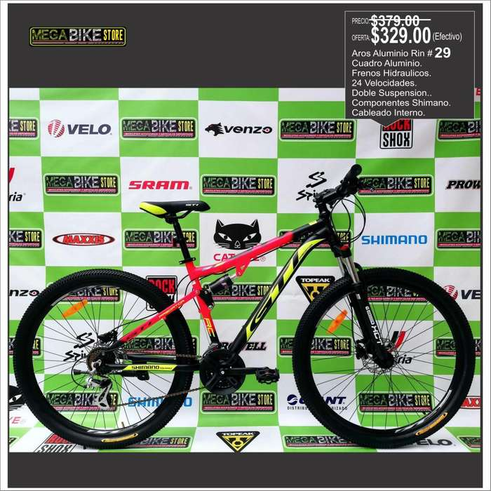 Bicicleta Aro Rin 29 para montaña y Ruta, modelos disponibles todas en aluminio.