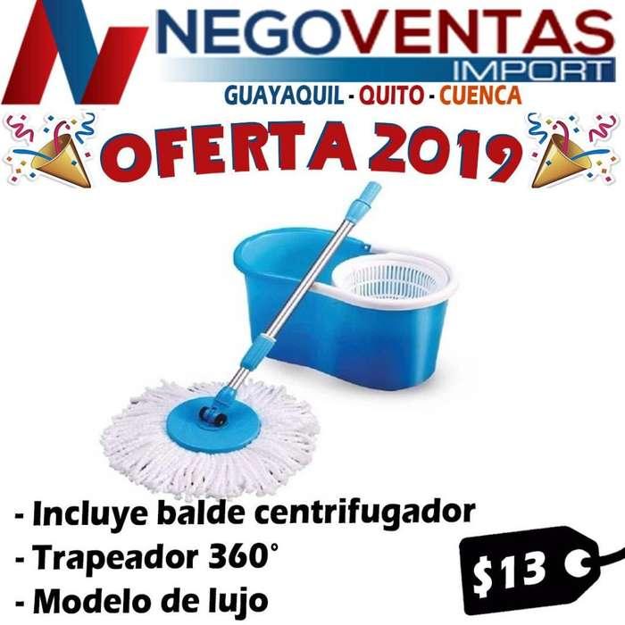 SPIN MOP TRAPEADOR MAGICO 360 GRADOS INCLUYE BALDE DE OFERTA