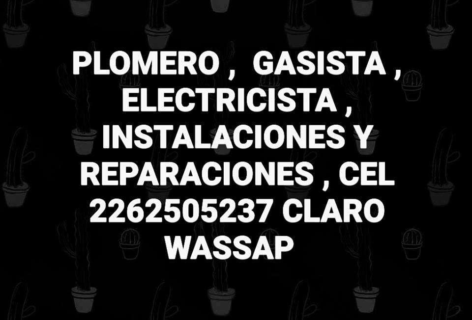 ELECTRICISTA, REPARACION DE TECHOS , ALBAÑIL , PLOMERO,, GASISTA, CARPINTERO, PINTOR , ETC,.. MANTENIMIENTOS DEL HOGAR