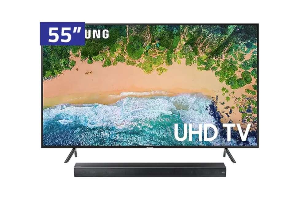 Televisor UHD Samsung TV Smart 55 UN55NU7100 PC ZE Negro con Sound Bar