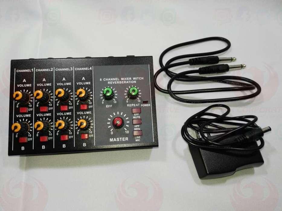 Mezcladora Dj Mixer 8 Canales X2 Master Reverberation