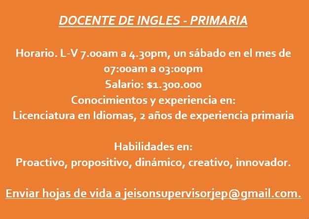 DOCENTE DE INGLES PRIMARIA