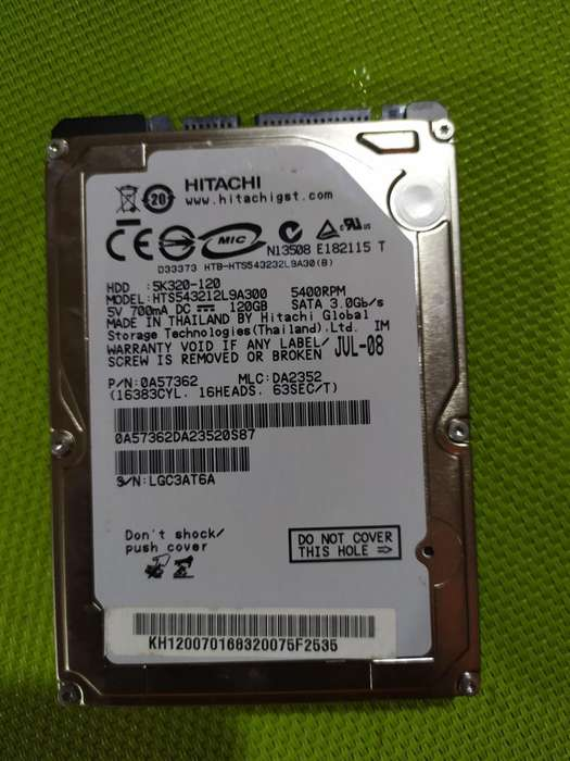 Disco Duro Sata Hitachi Pc Portatil 120 Gb