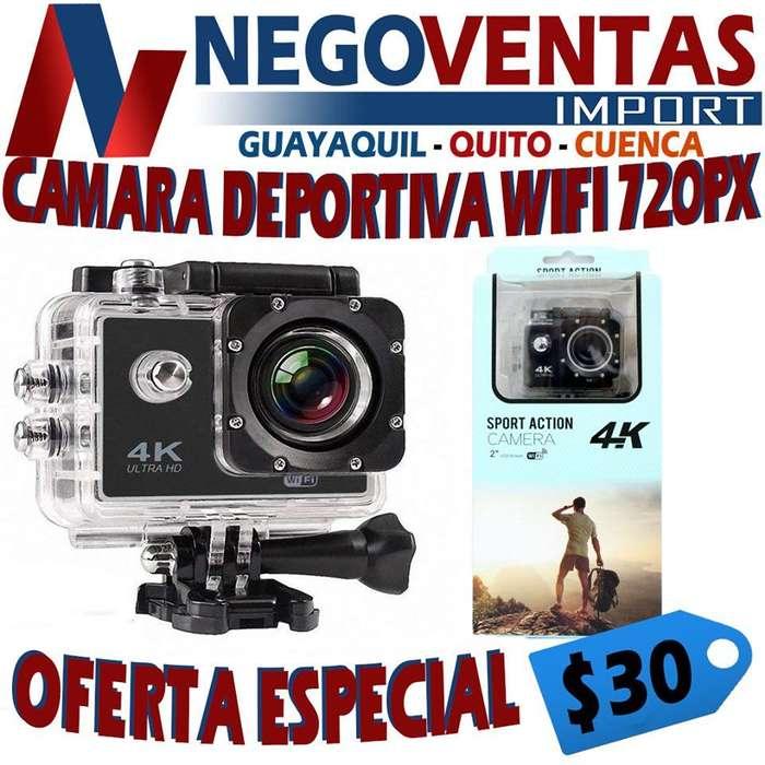 CAMARA DEPORTIVA GO PRO WIFI 720 PX CON ESTUCHE DE AGUA Y ACCESORIOS