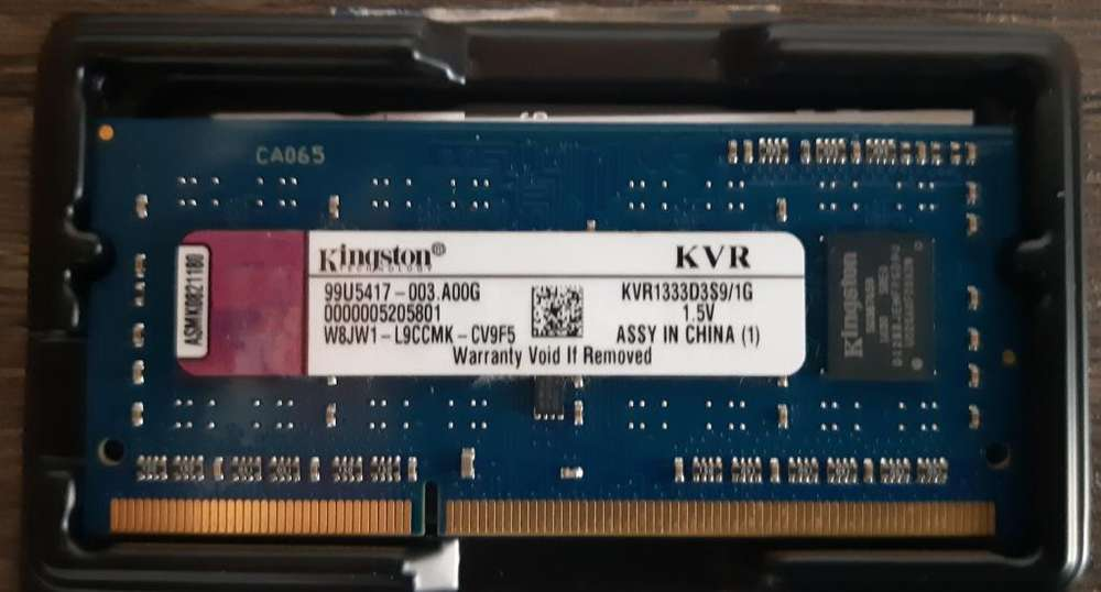 <strong>memoria</strong> Ram 1 Gb KVR1333 S3S9 Kingston 1.5V