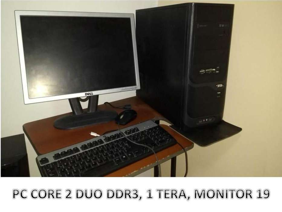 PC DDR3 CORE 2 DUO DISCO 1 TERA MONITOR 19 PULGADAS