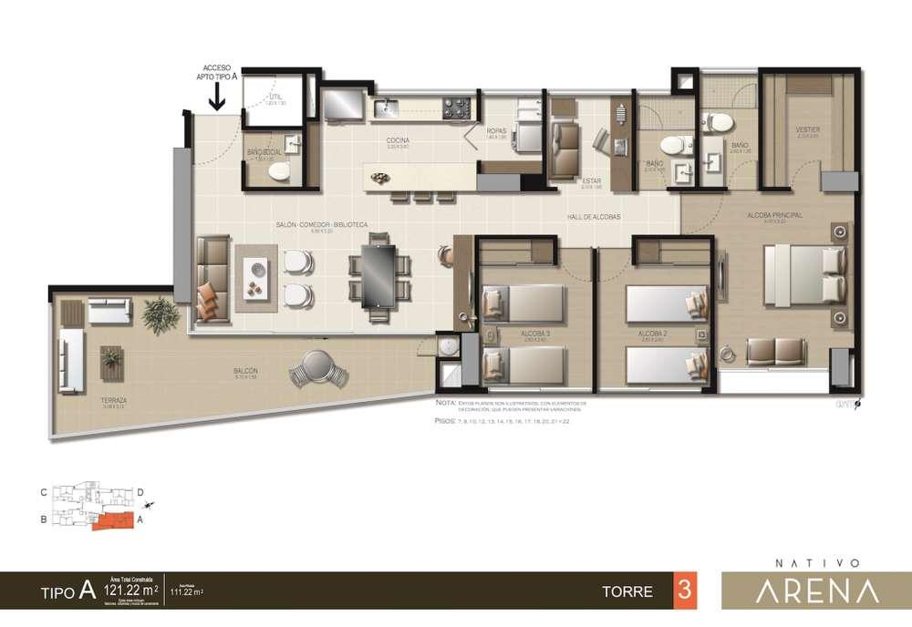 Gran oportunidad! apartamento en <strong>plano</strong>s Nativo Arena con terraza