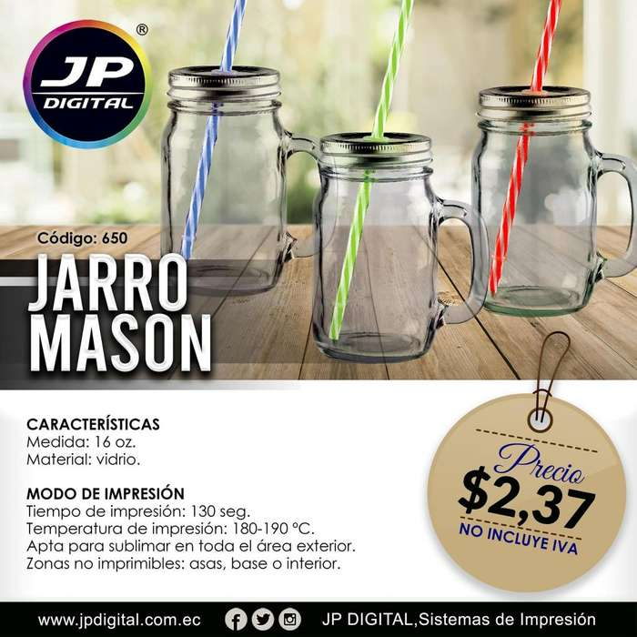 Jarro mason transparente con sorbete para sublimación.