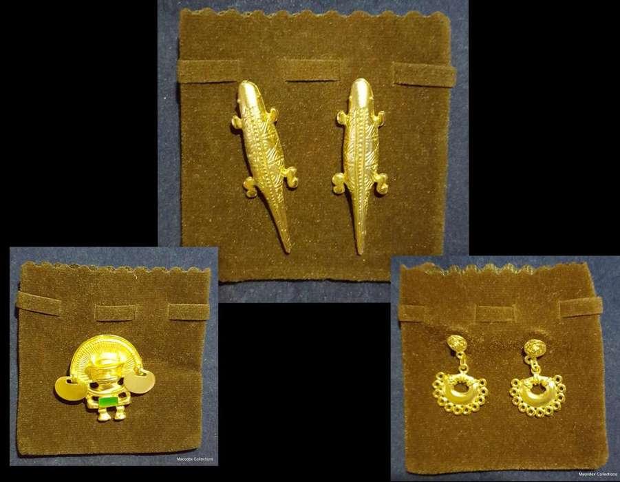 Lote 3 Replicas Precolombinas,fundidas En Peltre Baño 24k 9