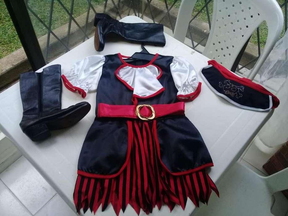 Hermoso Disfraz de Niña Pirata Talla 6