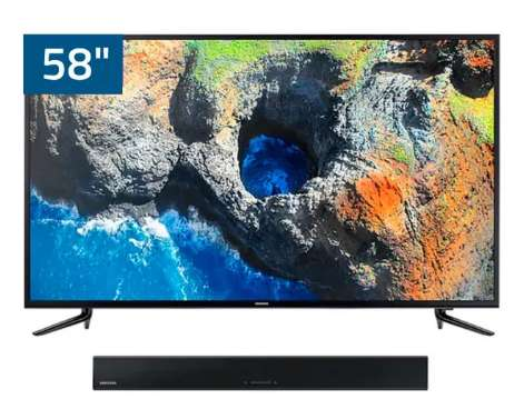 Televisor Samsung UHD Smart 58 UN58NU7103PXPA Sound Bar UHD J250 con Barra de Sonido