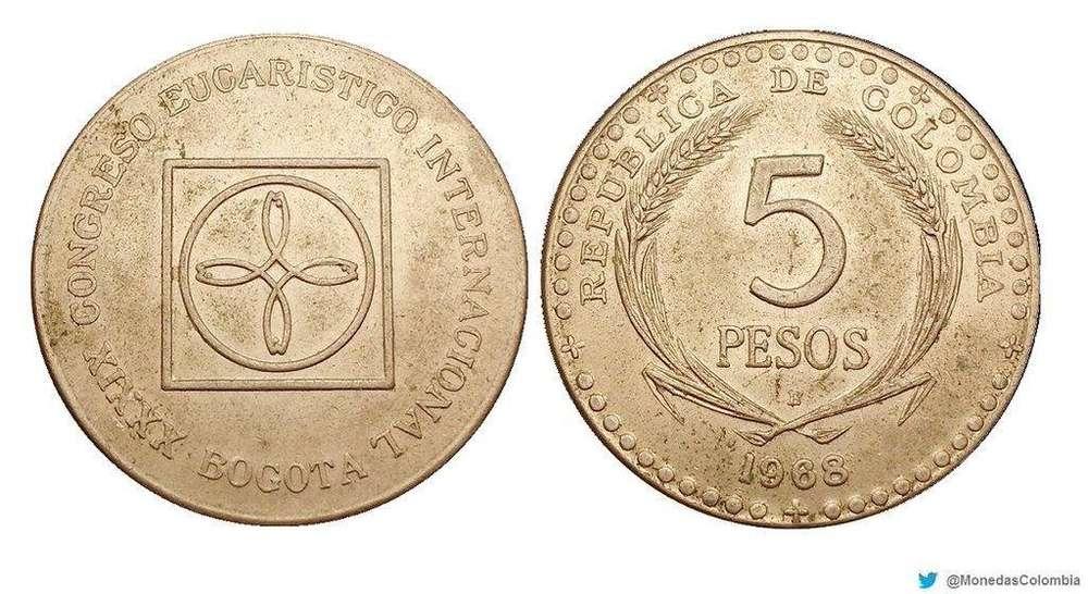 Moneda 5 Pesos Colombianos 1968 Congreso Eucarístico