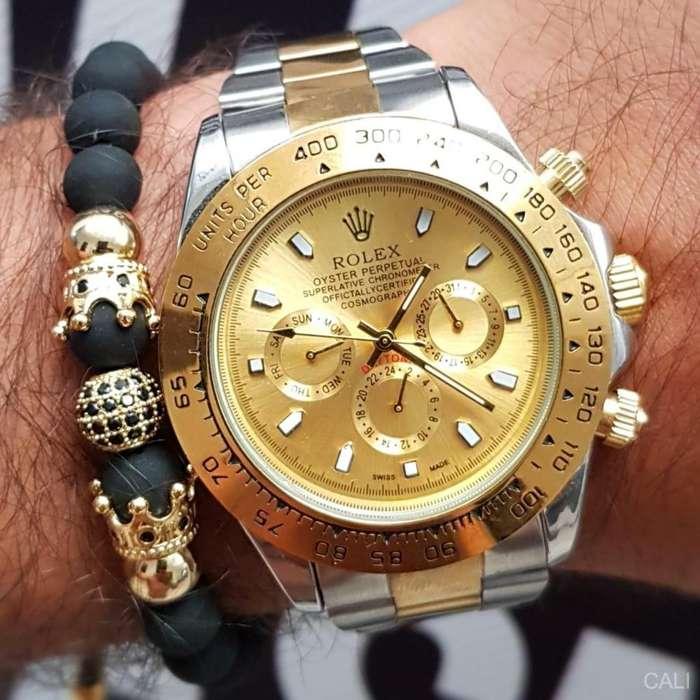 Reloj Rolex doble color plateado con dorado para hombre