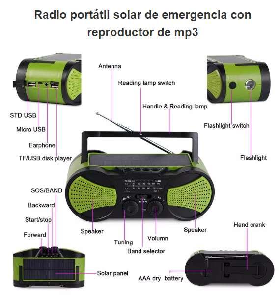 Radio Solar De Emergencia Multifuncional Con Manivela S.O.S.