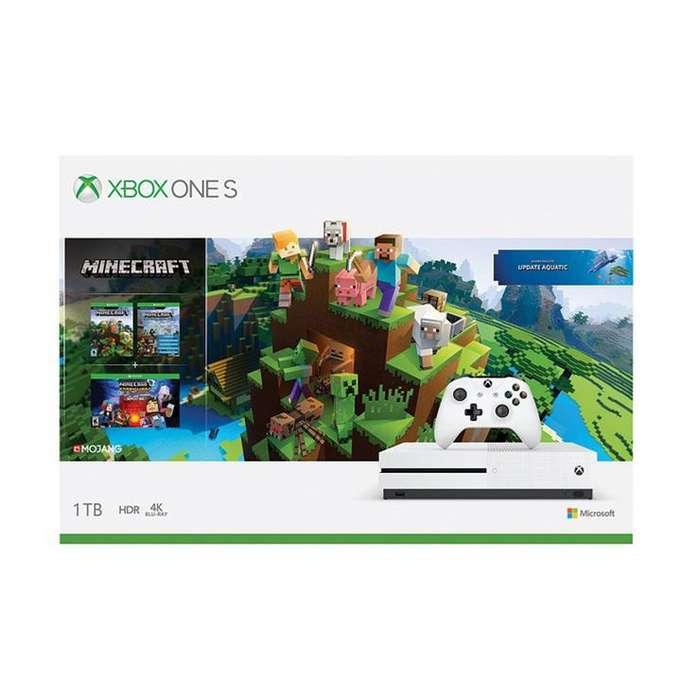 Xbox One S 1tb 4k Wifi Hdr combo Mine Craft Juego y 3 Expansiones Nueva Sellada