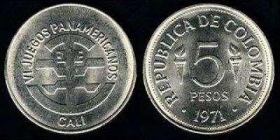 Moneda De Colección 5 Pesos Juegos Panamericanos Colombia 1971