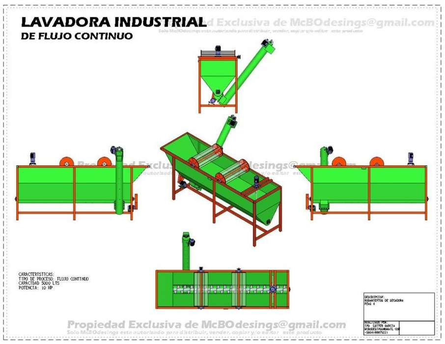 <strong>lavadora</strong> Industrial 5000 Litros Plastico Planos Fabricacion