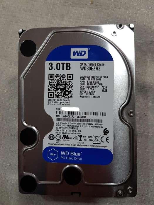 HDD WD Blue 3T 100 funcional