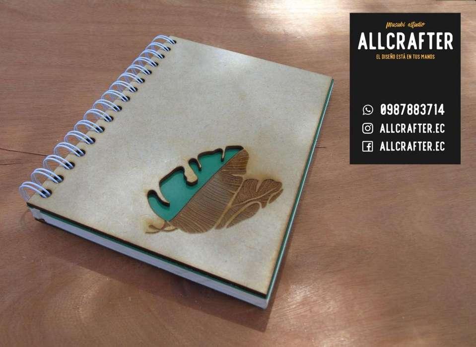 Cuaderno Hojas/ Diseños Personalizados en madera