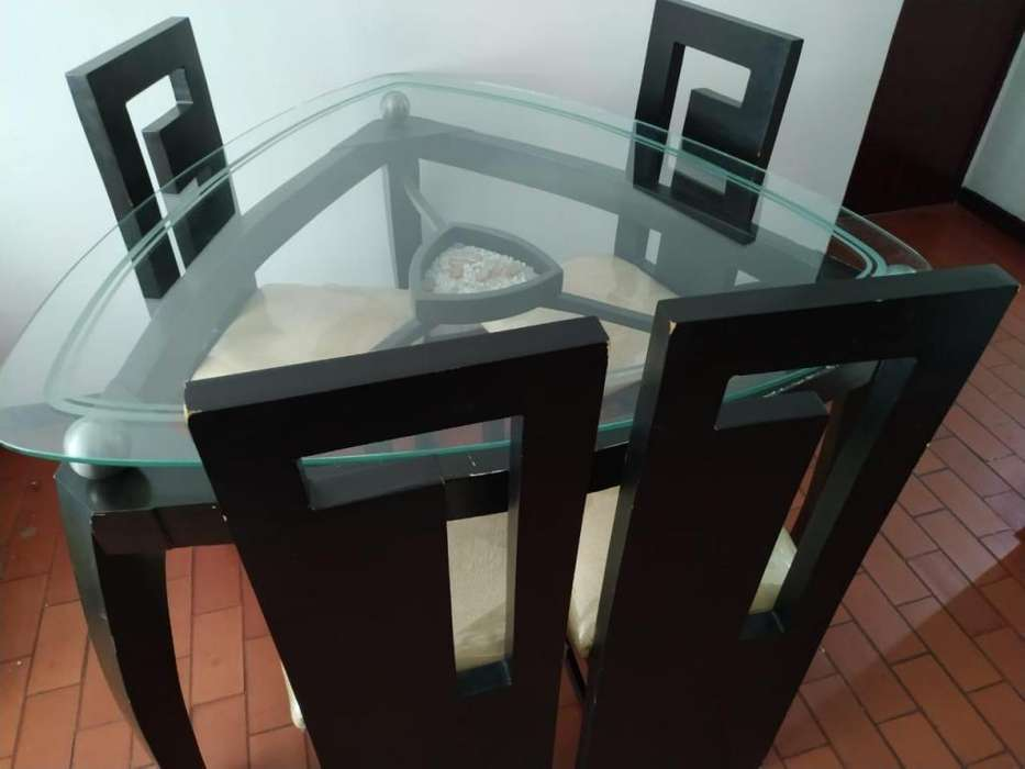 juego de <strong>comedor</strong> 6 puestos triangular vidrio Cali