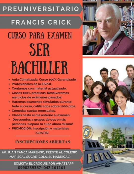 Curso SER BACHILLER Ineval SENESCYT 0990239387 Garantizado! Profs. ESPOL