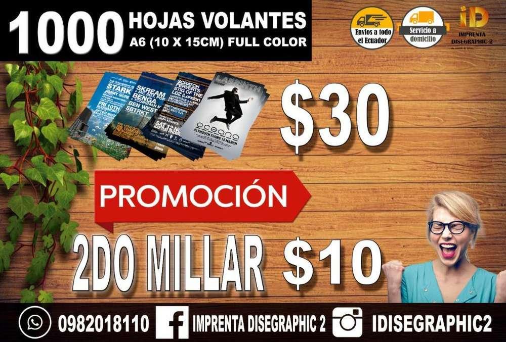 1000 HOJAS VOLANTES FLYERS PUBLICIDAD FULL COLOR BANNER LONAS DIPTICOS TRIPTICOS ROLL UP