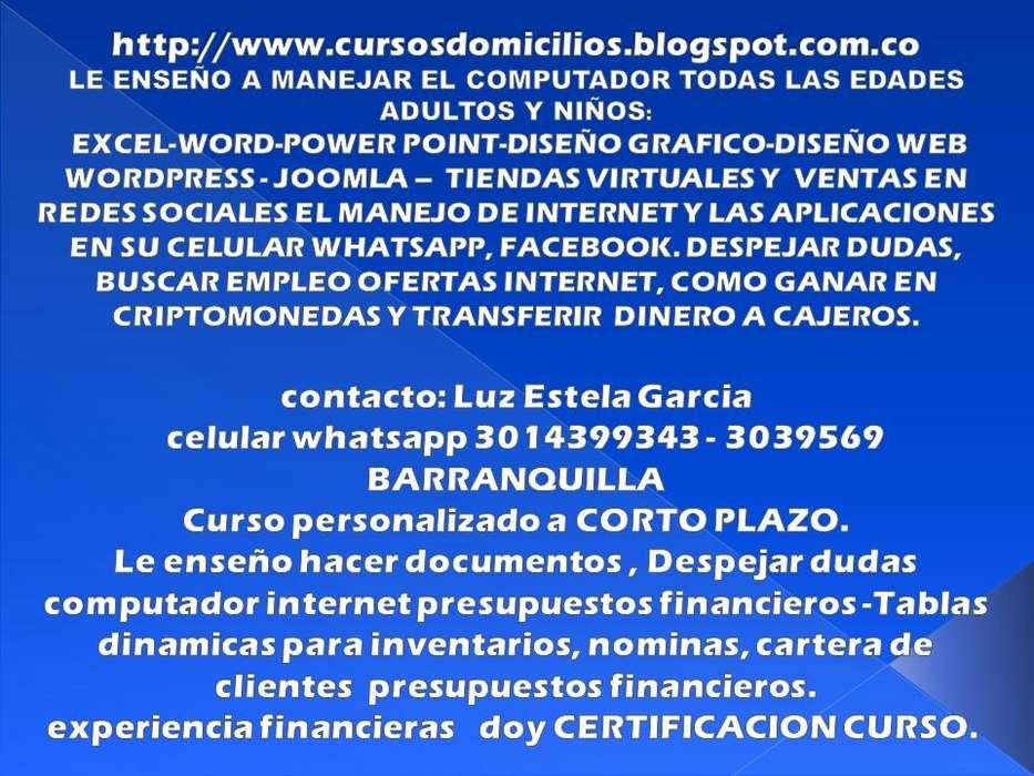 CLASES PARTICULARES ADULTOS , NIÑOS, INFORMATICA, INTERNET TAREAS CONTABLES FINANCIERAS