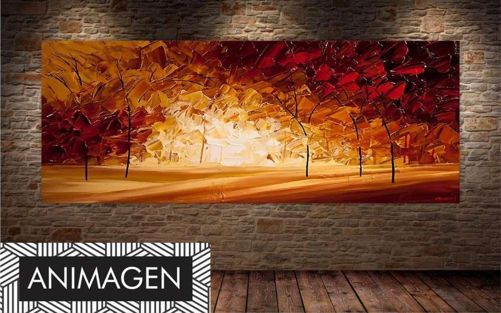 Cuadro decorativo de bosque en otoño 3259
