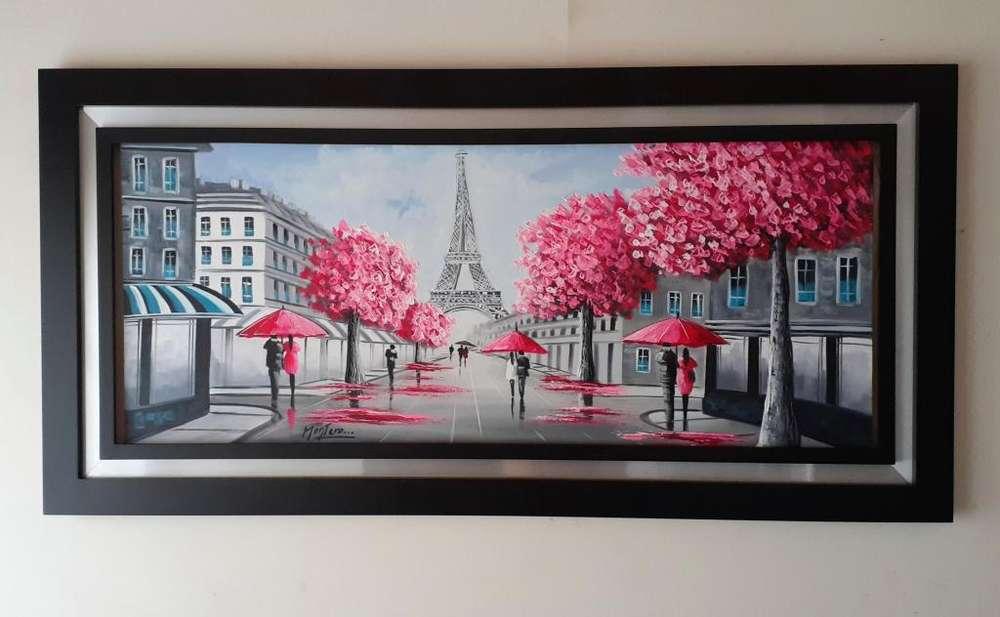 Cuadro Al Oleo Parisino Con Marco Decorativo Pintado A Mano