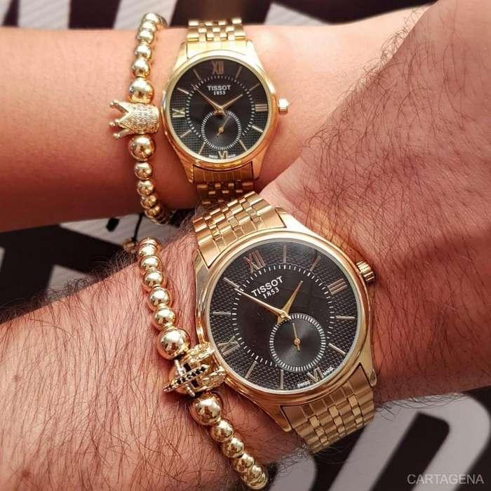 Relojes Tissot dorados con negro a la venta para parejas