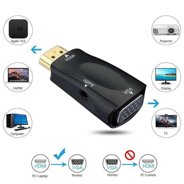 Adaptador HDMI Macho VGA Hembra Audio Pc Ps Hd Video Laptop Monitor Gamer