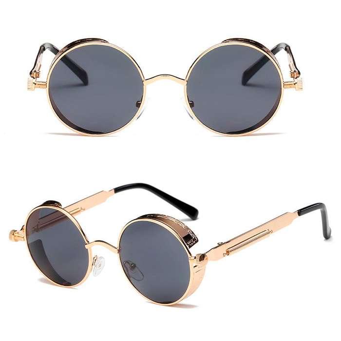 Lentes de sol steampunk diseño retro vintage gafas redondas