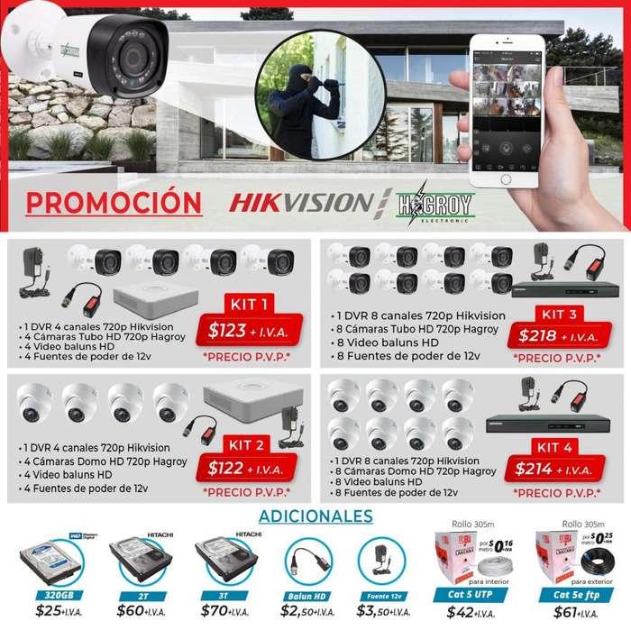 Camaras de seguridad kit dvr hikvision dahua cctv