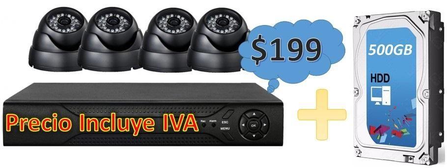 Kit Cctv 4 Cámaras Seguridad Vigilancia Disco Duro 500gb PRECIO INCLUYE IVA