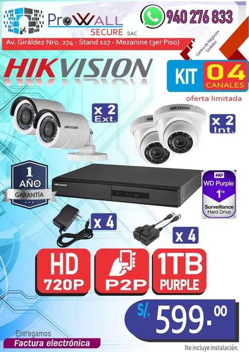 Cámaras de Vigilancia: Kit HD 720 de 4 Canales.