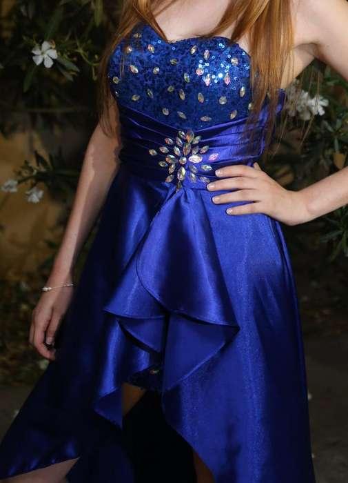 Vestido de graduación azul con lentejuelas, tipo mullet, escote corazón