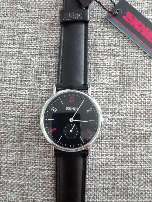 Reloj Skmei 9120 Correa Cuero Acuatico