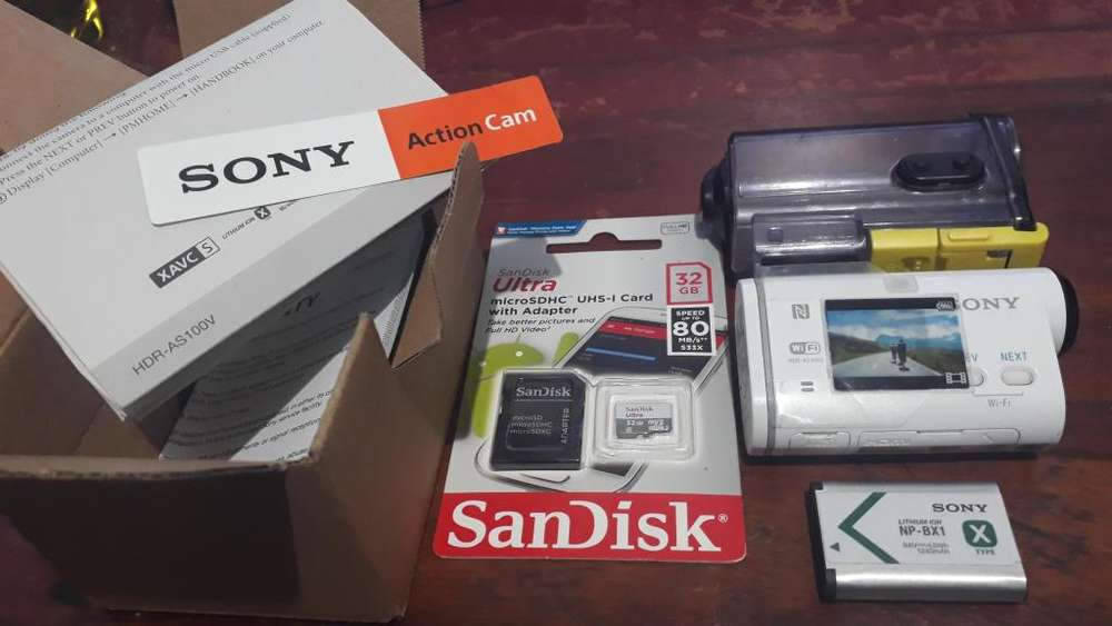 Sony action Hdr as100v Sandisk Ultra 32Gb Full accesorios