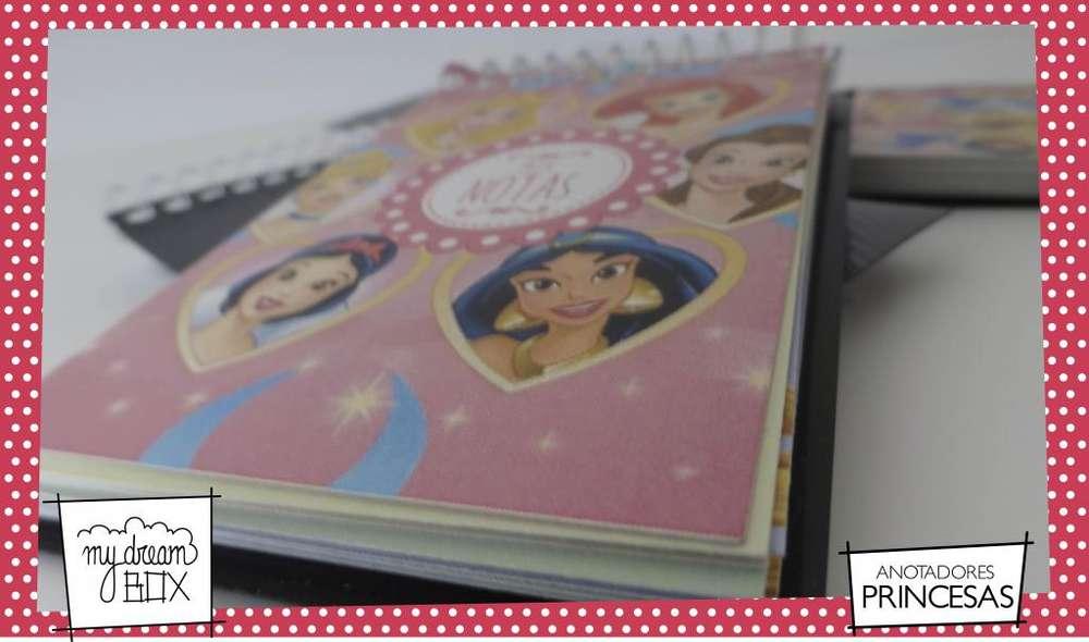 Anotadores rayados con personajes personalizado Princesas Aurora Bella Tiana Cenicienta Blancanieves