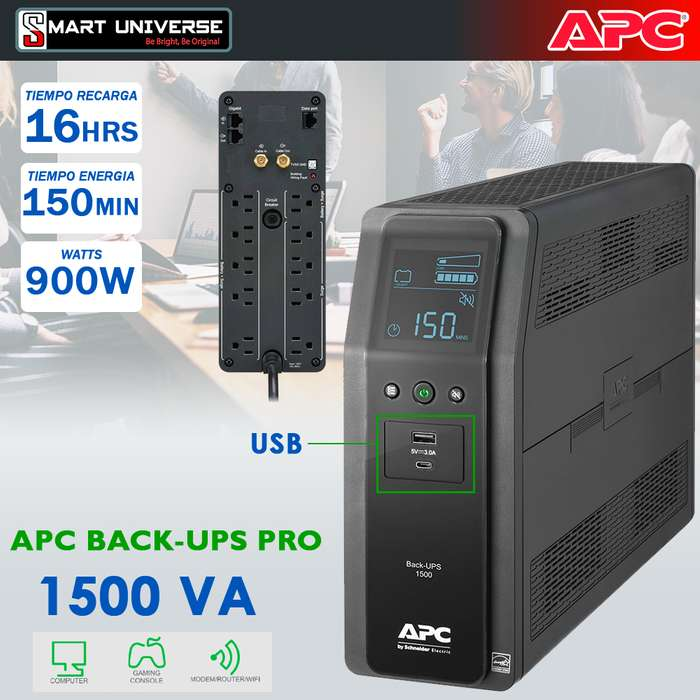 Ups Regulador Apc 1.5kva 1500va 900w Pc Server 10 Tomas