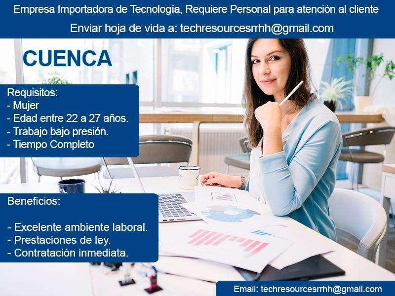 Necesita señorita para atención al cliente en Cuenca, empresa importadora mayorista en seguridad electrónica.
