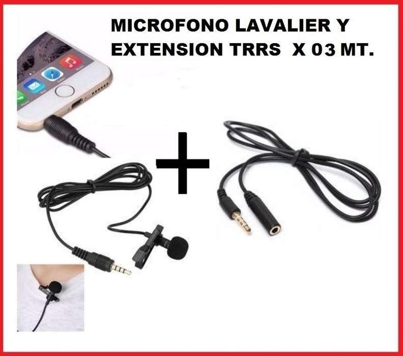 KIT MICROFONO CELULAR TRRS Y EXTENSION TRRS DE 3 MTS