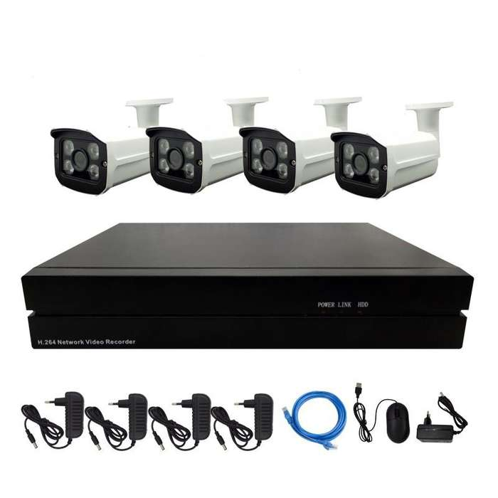 Kit De Seguridad IP NVR 4 Cámaras 1080P