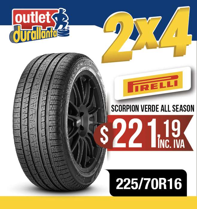LLANTAS 225/70R16 PIRELLI SCORPION VERDE ALL SEASON XL GRAND VITARA SZ XTrail XTRAIL SENSE Rav4 XTRAIL EXCLUSIVE H6