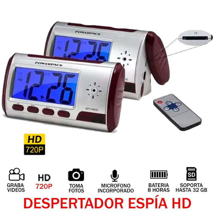 Despertador Espía Digital 32GB Audio Video Oculto Hd 720p 8H